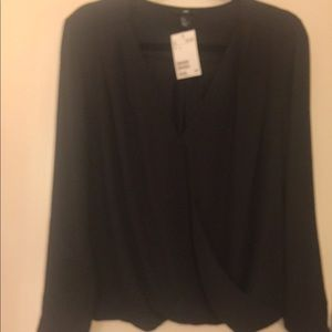 H&M crossover top blouse black NWT 14